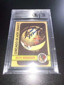 Keith Magnuson Signed 1971-72 Topps Card #97 Chicago Blackhawks BAS Slab Auto 10