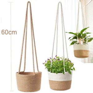 Rope Hanging Planter Woven Plant Storage Basket Flower Plant Pot Graden Basket