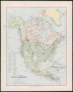 1903 Original Antique Colour Map  - NORTH AMERICA MEXICO HONDURAS (43)