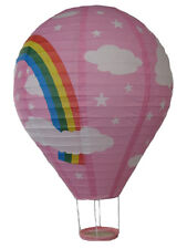 Chinese Lantern, Printed Wire Framed Paper, Oval 40 x 60 cm, Rainbow on Pink