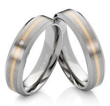 Eheringe Verlobungsringe Trauringe aus Titan 585 Gold mit echtem Diamant TG172
