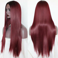 Ombre Burgundy Lace Front Wigs Heat Resistant Synthetic Long Straight Hair Soft