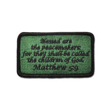 Tactical Combat Morale Patch EMB Hook and Loop Badge by BASTION Matthew 5:9 ODG