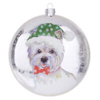 "RAZ Imports Christmas Glass Disc Ornament West Highland Terrier Westie 5"" x 1.5"""