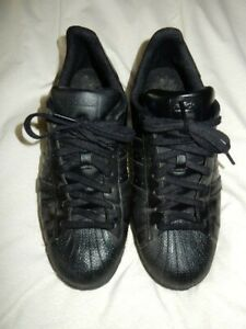 Excellent Condition Adidas Superstar Men's All Black Leather Trainers Size UK 10