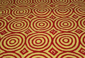 Clothe Crafts Cotton 7 Yard Fabric  Indian Hand Block Printed Red Yellow Circle