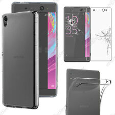 Housse Coque Silicone + Film Verre Trempé Transparent Sony Xperia XA Ultra/Dual