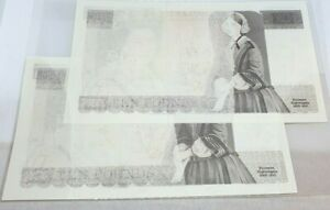 PAIR ERROR MISSING/DRY PRINT 2 X £10 SOMERSET CONSECUTIVE 1980-84  UNCIRCULATED