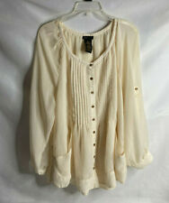 Grace Elements XXL Ivory Blouse Button Front w/Pleats Tunic Stunning Style Class