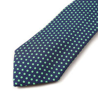 NWT $295 CESARE ATTOLINI Navy Blue and Green Dot Print Woven Silk Tie