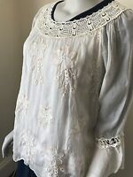 LAGENLOOK LMT Silk Floral Embroidery Top Blouse UK Size 8-16 NEW EXQUISITE