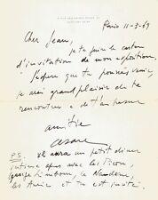 CESAR /  Lettre autographe signée à propos de son exposition. 1969