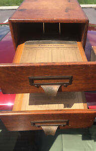 YAWMAN ERBE WERNICKE STYLE FILE CABINET DOVETAILS ENGRAVED BRASS Binders Ca.1900