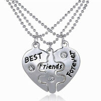 PT_ LC_ 3pz Donna Best Friends Forever Staccabile Cuore Amicizia Collana Set