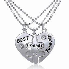 3 pièces femmes Best Friends Forever fendu coeur amitié ensemble collier bijoux
