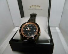 Rotary Men's Rose Gold Plate Ocean Avenger Black dial Waterproof strap watch