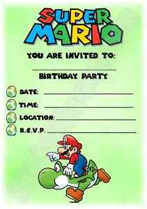 A5 KIDS CHILDRENS PARTY INVITATIONS X 12 - SUPER MARIO YOSHI