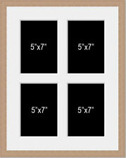 Multi Aperture Photo Picture Frame holds 4 5x7 Photos 2-over-2 in an oak colour