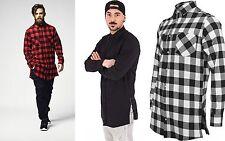 URBAN CLASSICS Camicia lunga uomo flanella Side-Zip Long Checked Shirt TB1001