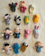 15 Plush Finger Puppets: Human Family & Animals Dog Frog Chick Bunny - New