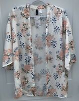 Divided H&M Women's Small NWT Short Kimono Floral Wide 3/4 Length Sleeves