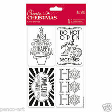 Papermania Chiare TIMBRO Tag Set Merry HAPPY Natale Capodanno non aprire