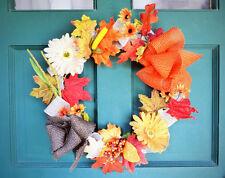 Thanksgiving Fall Harvest Door Wreath w/ Autumn Leaves, Mesh Burlap & Sunflowers