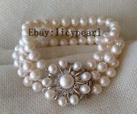 Perle Armband,3 Reihen 7-8mm weiß Süßwasser Perle Armband 8inch