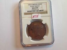 1855 Great Britain Penny Plain Trident NGC MS 64 Brown
