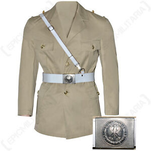 German Army White Belt and Cross Strap - Issued Surplus white Leather All Sizes