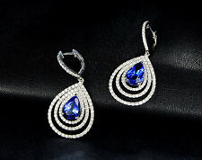 SOLID 18K WHITE GOLD NATURAL BLUE TANZANITE STUNNING DIAMOND DROP EARRING
