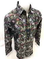 Mens MANZINI Button Up Dress Shirt COLORFUL PAISLEY Designer FRENCH CUFF 312 NWT
