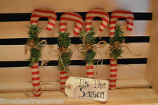 4 Primitive CANDY CANE Ornie Filler Tuck Folk Art CHRISTMAS Make Do's Hang Tree