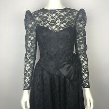 VTG Black Lace Drop Waist Bow Prom Goth Beetlejuice Corpse Bride Midi Dress Sz S