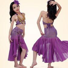 Kinder Mädchen Bauchtanz Kostüm (Pfau Top, Fischschwanz Rock) 4 Farben 3 Größen