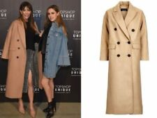 Topshop Camel Relax Fit Double Breasted Boyfriend Crombie Long Coat  UK 6 - 14