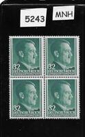 1941 MNH stamp block 32 Gr / Adolph Hitler / Poland Occupation Third Reich WWII