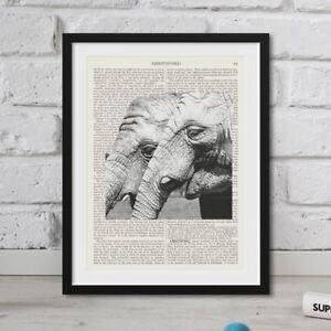 Dictionary Art Print Elephants On Book Page Vintage Antique FRAMED