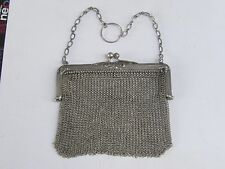 ANTIQUE SOLID SILVER 0.800 LADYS  MESH COIN PURSE-19th-Perfect