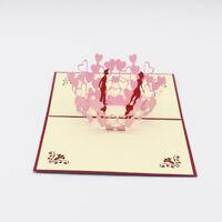 3D Greeting Card Sweet Heart Couple Valentines Handmade Postcard Gift Jian