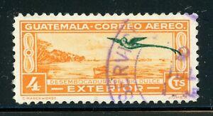 Guatemala Used Air Post Quetzal Selections: Scott #C50 4c Org Yel EXTERIOR $$