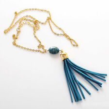 Long Gold Chain Bead Leather Turquoise Blue Tassel Boho Bohemian Necklace