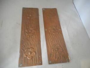 Pair of Art Nouveau Designed Antique Copper Door Finger Plates
