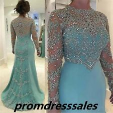 Luxury Bead Lace Mermaid prom Dress Long Formal Pageant Party Ball Evening Gown