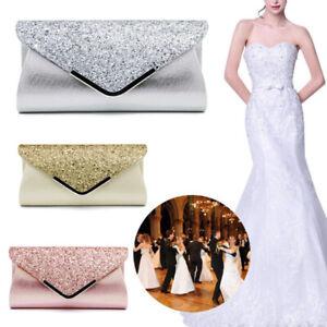 Women Glitter Grace Clutch Bag Ladies Evening Wedding Party Purse Chain Handbag