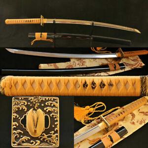 Handmade Japanese Samurai Sword Katana WAVE TSUBA VERY SHARP FULL TANG BLADE