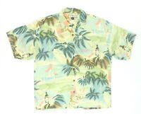 "Tommy Bahama Men XL 51"" 100% Silk Club Paradiso S/S Button Shirt Tropical Palm"