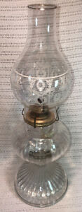 "Vintage Kerosene Oil Lamp Clear Glass P&A Risdon Farmhouse Chic Eagle Burner 19"""