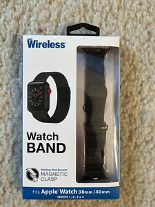 JUST WIRELESS WATCH BAND BLACK MAGNETIC APPLE 38MM/40MM SERIES 1 2 3 4 Magnetic