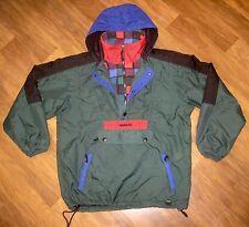Vtg 90s Green OBERMEYER Colorblock SKI Mens SMALL Hooded Snowboard Jacket Coat S